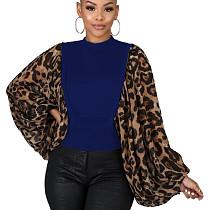Blue Unique Loose Sleeve Leopard Printed Splicing Women T Shirt HG5300