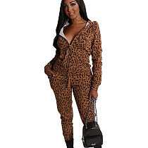 Stylish Leopard Printing Two Pieces Thicken Hooded Tracksuits BS1154