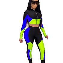 Blauwe kleurblok groothandel slanke outfits Crop Top strakke legging KSN5098