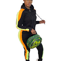 Black Colors Patchwork Plus Size Hooded Running Sets With Pockets HG5297