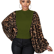Green Unique Loose Sleeve Leopard Printed Splicing Women T Shirt HG5300