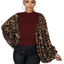Wine Red Unique Loose Sleeve Leopard Printed Splicing Women T Shirt HG5300