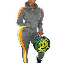 Gray Colors Patchwork Plus Size Hooded Running Sets With Pockets HG5297