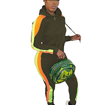 Green Colors Patchwork Plus Size Hooded Running Sets With Pockets HG5297
