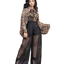 Loose Sleeves Printing Top Mesh Splicing Pants Perspective Hot Sets HG5302