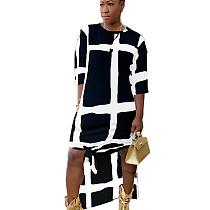 Black Leisure Comfy Loose Fitting Half Sleeve Printing Split Dress HHM6183