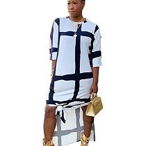 White Leisure Comfy Loose Fitting Half Sleeve Printing Split Dress HHM6183