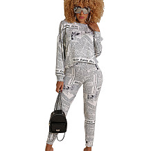 Latest Newspaper Printing Leisurewear Street Style Women Pants Set AL068