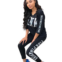 Black Letters Print Casual Sets 3/4 Sleeve T-Shirt Pencil Pants LS6061