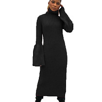 Black Turtleneck Sweater Pure Color Flares Sleeves Pencil Dress HHM6181