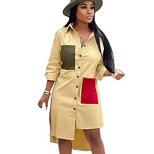 Yellow Female Single Breasted Long Sleeves Patchwork Casual Shirt Dress SN3728