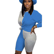 Blue Young Girls Color Block Sets Casual T Shirt Bodycon Shorts BN9210
