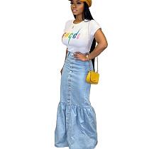New Design Slim Flower Bud Stitching Denim Long Skirt BN9212