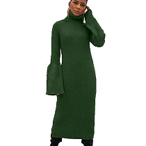 Green Turtleneck Sweater Pure Color Flares Sleeves Pencil Dress HHM6181