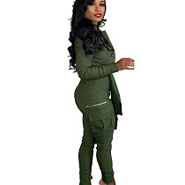Army Green Fashionable Bandage Cargo Style Zipper Pure Color Jumpsuit BN9214