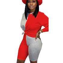 Red Young Girls Color Block Sets Casual T Shirt Bodycon Shorts BN9210