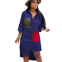 Blue Female Single Breasted Long Sleeves Patchwork Casual Shirt Dress SN3728