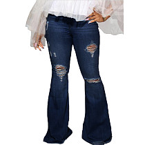 High Waist Hollow Broken Stretch Women Flare Pants Jeans Casual SMR2229
