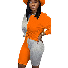 Orange Young Girls Color Block Sets Casual T Shirt Bodycon Shorts BN9210