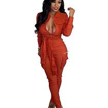 Orange Fashionable Bandage Cargo Style Zipper Pure Color Jumpsuit BN9214