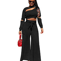 Black Fall Long Sleeves Casual Cropped Tops Wide Legs Pants Set 2pcs AFY679