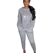 Gray Sequin Splicing Hoodie Solid Pants Fashion Outdoor Outfits MTY6235
