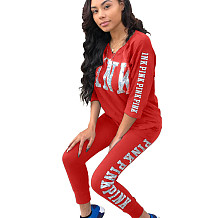 Red Letters Print Casual Sets 3/4 Sleeve T-Shirt Pencil Pants LS6061