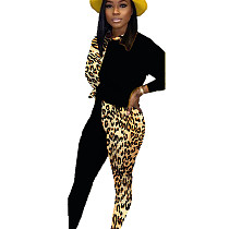 Black Hot Sell Comfy Leopard Print Patchwork Women Casual Suits BN9211