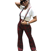 Fashion England Style Plaid Condole Belt Bodycon Trousers LS6151