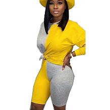 Yellow Young Girls Color Block Sets Casual T Shirt Bodycon Shorts BN9210