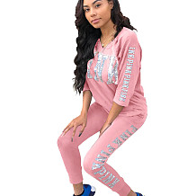 Pink Letters Print Casual Sets 3/4 Sleeve T-Shirt Pencil Pants LS6061