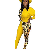 Yellow Hot Sell Comfy Leopard Print Patchwork Women Casual Suits BN9211