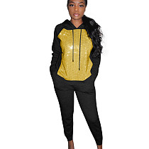 Black Sequin Splicing Hoodie Solid Pants Fashion Outdoor Outfits MTY6235