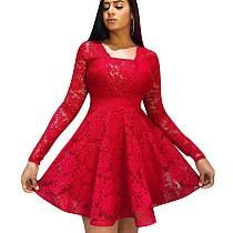 Folho vermelho guarnição Praça pescoço manga comprida vestido de senhoras W8250