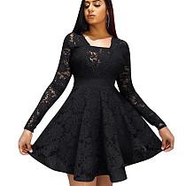 Folho preto guarnição Praça pescoço manga comprida senhoras vestido W8250