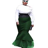 Black close-fitting Frill Bottom Skirt K8870