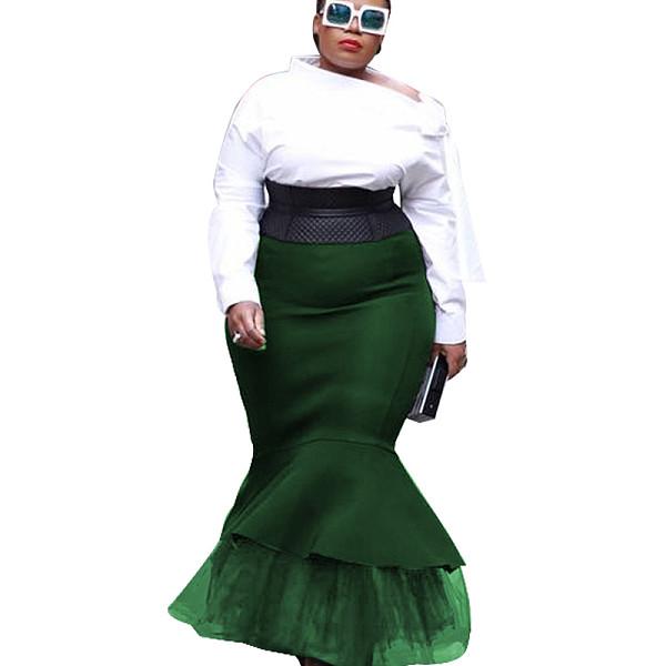 Green close-fitting Frill Bottom Skirt K8870