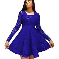 Folho guarnição azul pescoço quadrado manga longa senhoras vestido W8250