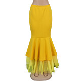 Yellow close-fitting Frill Bottom Skirt K8870