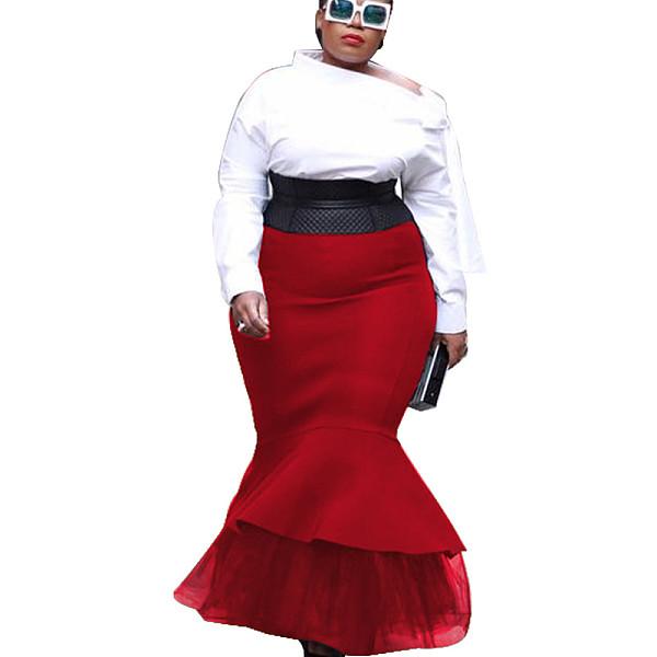 Red close-fitting Frill Bottom Skirt K8870