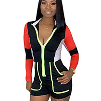 Black Color Blocks Zip Up Long Sleeve Jumpsuit DN8202