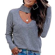 Cinza manga comprida malha frente Mock pescoço blusa K058