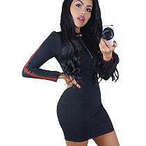 Black Female Webbing Splicing Slim Fitting Casual Wrap Dress DN8042