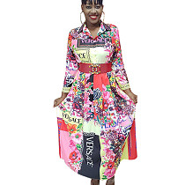 Casual Multicolor Ladies Floral Printing Long Sleeved Shirt Dress YZ1995
