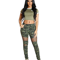 New Design Tight Autumn Mesh Stitching Camouflage Pants N9098