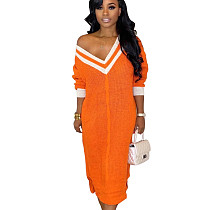 Orange Casual Pullover V Neck Sweater Split Dress For Daily Wear BS1155