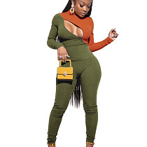 Army Green Zipper Contrast Color Top Tight Solid Pants Ribber Bodycon Sets YYF8068