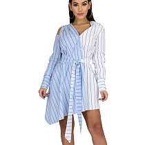 Leisure Stripe Contrast Color Irregular Loose Tied Shirt Dress CYY8529