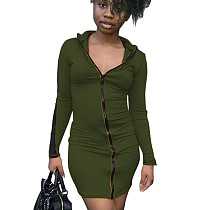 Army Green Cheap Women Bodycon Zipper Casual Long Sleeved Mini Dress N9181