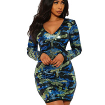 Blue Sexy V Neck Clubwear Sequined Camouflage Mini Wrap Dress N9185